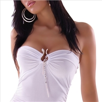 Longtop? Mini dress? strapless snake white